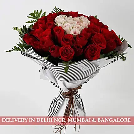 Hearty Red Pink Roses 60 Pc Premium Bouquet: Send Flowers To India