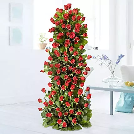Premium 100 Red Roses Arrangement: Send Gifts To India