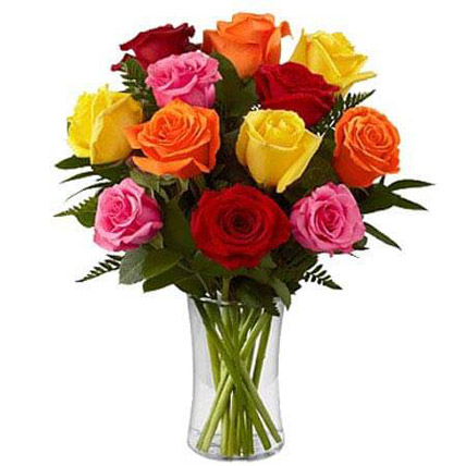 Dozen Mix Roses in a Glass JD: Gifts to Amman