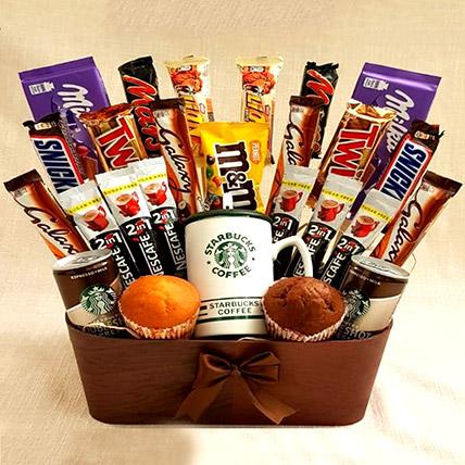 Coffee and Cupcakes Chocolaty Basket: Ramadan Gifts in Jordan