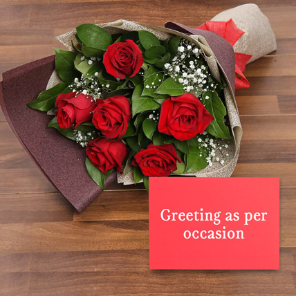 6 Red Roses Bouquet With Greeting Card: Propose Day Flowers & Greeting Cards