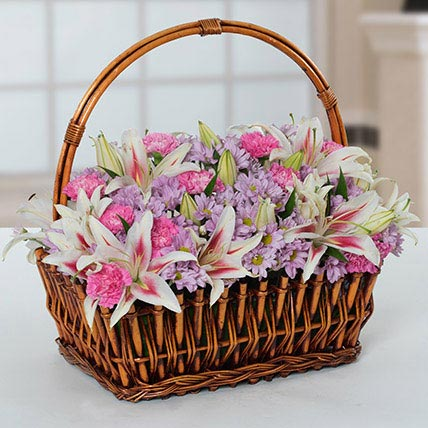 Attractive Flowers Basket: Carnation Flowers