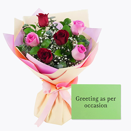 Attractive Roses Bouquet With Greeting Card: Karwa Chauth Flowers & Greeting Cards