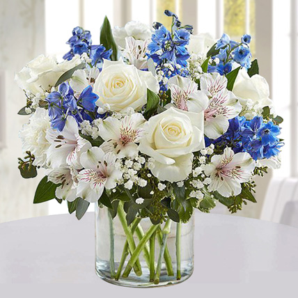 Blue and White Floral Bunch In Glass Vase: Birthday Gifts for Husband