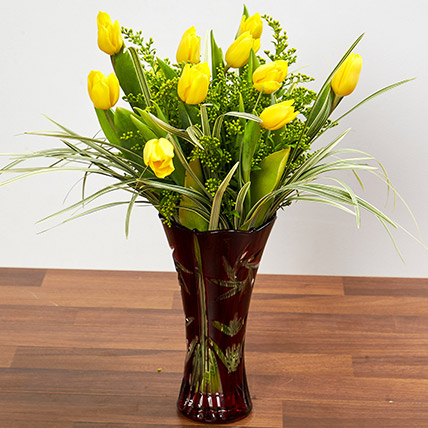 Bright Yellow Tulips In Maroon Vase: Tulips Flowers