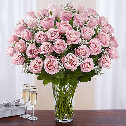 Bunch of 50 Gorgeous Pink Roses: Anniversary Gifts