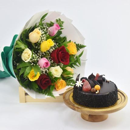 Dozen Multi Roses with Fudge Cake: Birthday Flowers & Cakes
