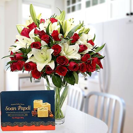 Floral Vase Arrangement and Soan Papdi Combo: Diwali Flowers