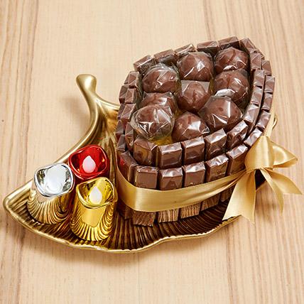 Golden Tray Of Chocolate: Diwali Chocolates