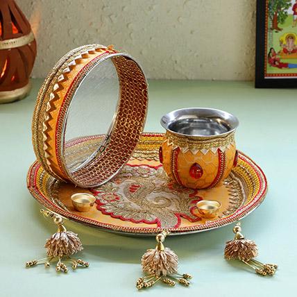 Mustard Designer Thali With Tassels Set: Karwa Chauth Gifts
