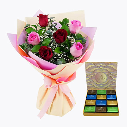 Pink and Red Roses With Godiva Chocolate Bar: Flowers with Chocolates