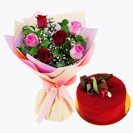 Pink and Red Roses with Red Velvet Cake: Flowers & Cakes