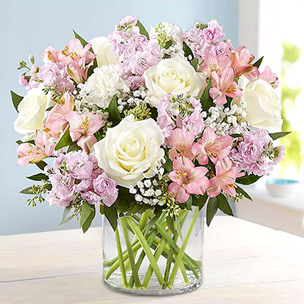 Pink and White Floral Bunch In Glass Vase: Carnation Flowers