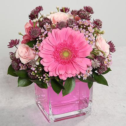 Pink Gerberas and Roses Arrangement: Gerberas Flowers