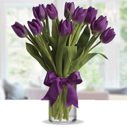 Purple Tulip Arrangement: Wedding Flowers