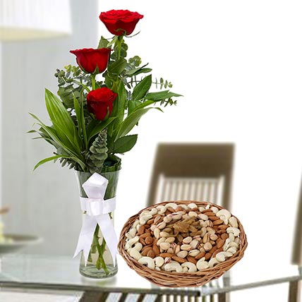 Red Roses Vase Arrangement and Dry Fruits Combo: Flowers & Dry Fruits
