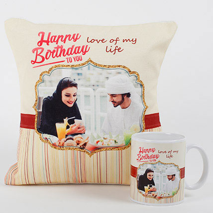 Romantic Personalized Mug N Cushion: Birthday Gifts
