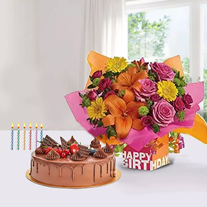 Special Birthday Surprise: Flowers with Cakes in Sharjah