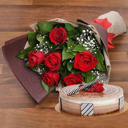 Triple Chocolate Cake and Red Roses Bouquet Combo: Birthday Flowers & Cakes