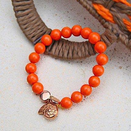 Alluring Orange Beaded Rakhi: Rakhi Bracelet