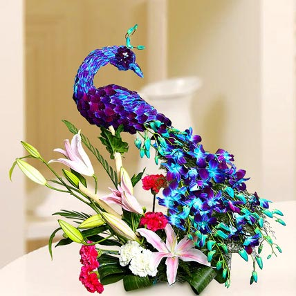 Floral Peacock Charm: Exotic Flowers