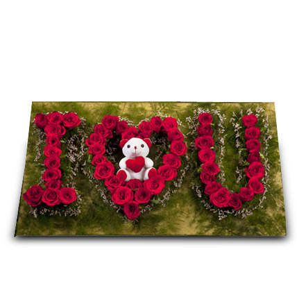 Cute Portrayal of Love: Flowers and Teddy Bears