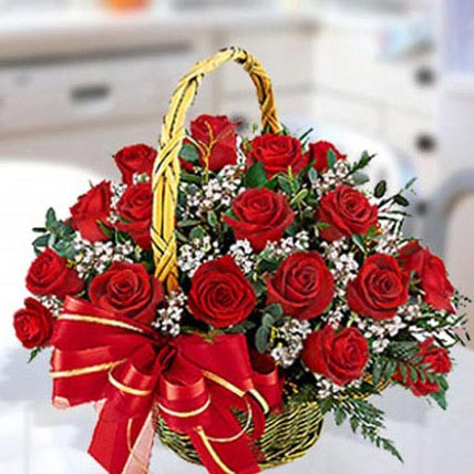 30 Red Roses Arrangement: Basket Arrangements