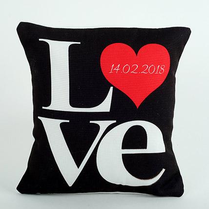 Black Love Cushion: Personalised Anniversary Cushions