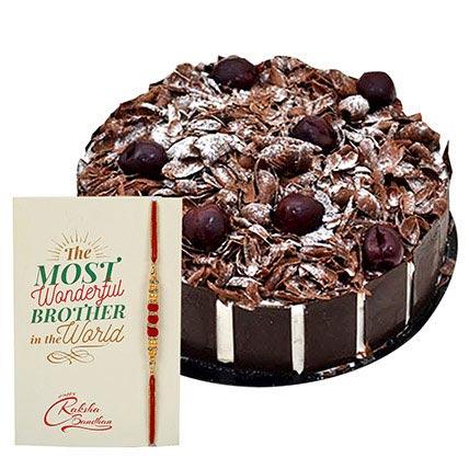 Blackforest Cake with Rakhi: Rakhi With Cakes