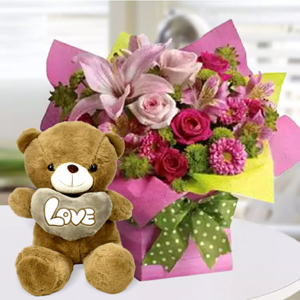 Mixed Flower Arrangement and Teddy Combo: Birthday Gifts for Kids