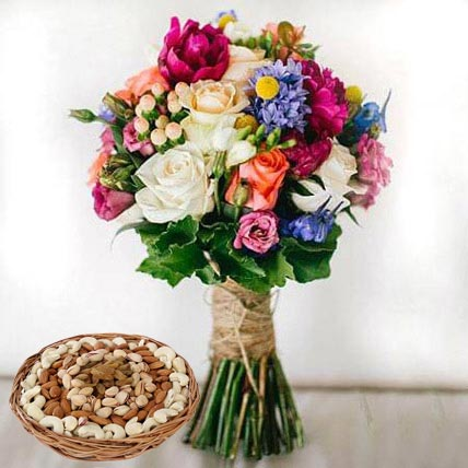 Mixed Roses Bouquet and Dry Fruits Combo: Anniversary Flowers and Dry Fruits