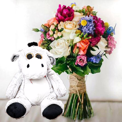 Ravishing Flowers and Brown Teddy Combo: Flowers & Teddy Bears