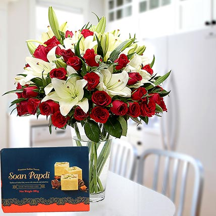 Floral Vase Arrangement and Soan Papdi Combo: Eid Flowers & Sweets