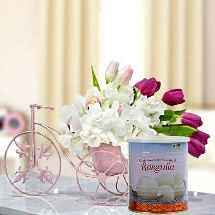 Refreshing Flowers Arrangement and Rasgulla Combo: Diwali Flowers