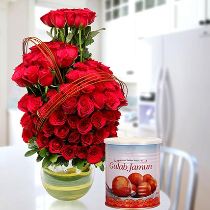 Red Roses Arrangement With Gulab Jamun: Diwali Flowers & Sweets