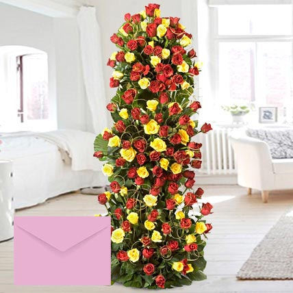 Luxurious Red and Yellow Roses Arrangement: Flowers With Greeting Cards