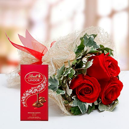 Red Roses Bouquet and Lindt Chocolate Combo: Buy Anniversary Chocolates