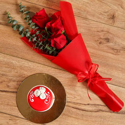 Red Roses Bouquet and Mono Cake Combo: 1 Hour Gift Delivery