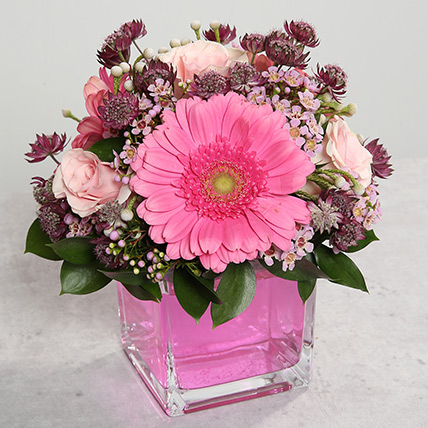 Pink Gerberas and Roses Arrangement: Gerberas Flowers