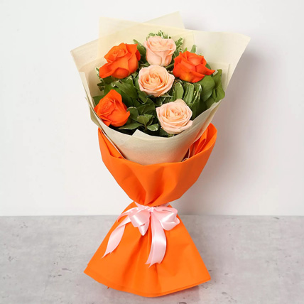 Orange and Peach Roses Bouquet: Thanksgiving Gifts