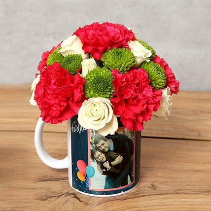 Carnations and Roses in Birthday Mug: Personalised Combos