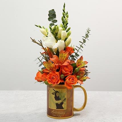 Personalised Anniversary Mug with Orange Rose Flower Arrangement: Flowers N Personalised Gifts