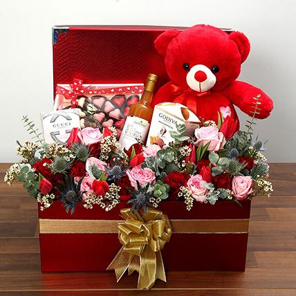 Delightful Hamper With Red Teddy Bear: Valentines Day Flowers for Boyfriend