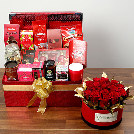 Delightful Food Hamper With Red Roses: Valentine Day Roses