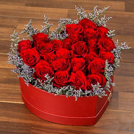 Red Roses In Heart Shape Box: Flower Box Dubai