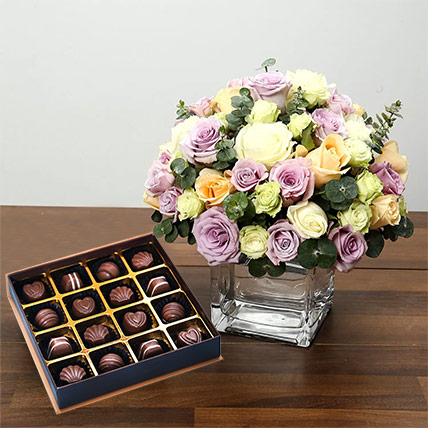 Purple and White Roses Array With Belgian Chocolates: Anniversary Flowers and Chocolates