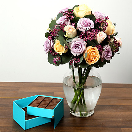 Mixed Rose Arrangement and Belgian Chocolate Combo: Flowers and Chocolates for Mothers Day