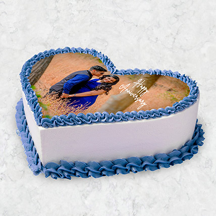 Heart Shaped Photo Cake 10 Pax: wedding anniversary cake with photo