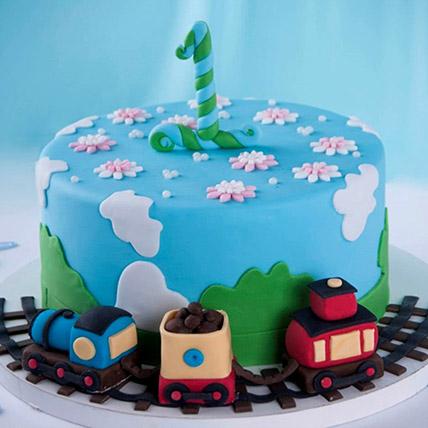 Train Theme Cake For 1st Birthday 3 Kg: 1st Birthday Cakes