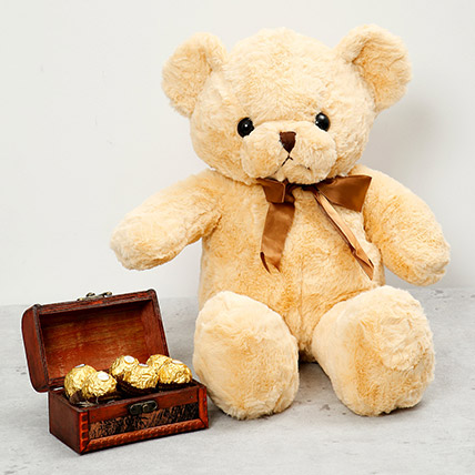 Brown Teddy Bear and Wooden Chocolate Box: Send Gifts to Dubai